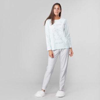 Printed Round Neck T-shirt and Striped Pyjamas Set