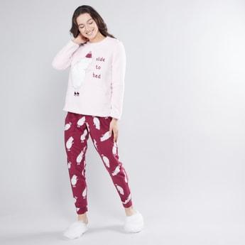 Textured Round Neck T-shirt and Printed Pyjama Set