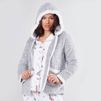 Plush Long Sleeves Jacket with Zip Closure and Hood