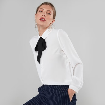 Solid Blouse with Long Sleeves and Pussy Bow