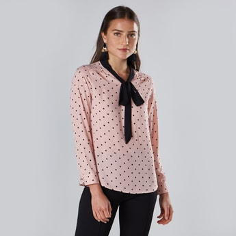 Polka Dot Printed Top with Pussy Bow and Long Sleeves