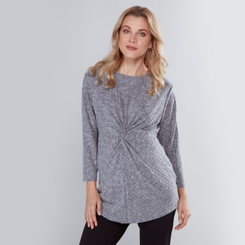 Maternity Ribbed Top with 3/4 Sleeves and Knot Detail