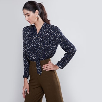 Printed Top with Necktie and Long Sleeves