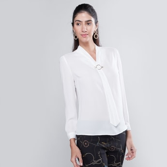 Plain Formal Top with Necktie and Long Sleeves