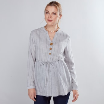 Maternity Striped Tunic with Long Sleeves and Tie Ups