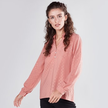 Collared Jacquard Top with Long Sleeves