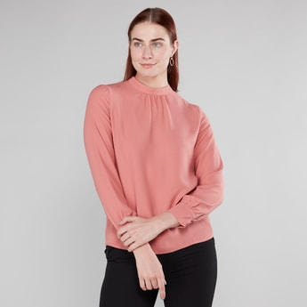 Plain High Neck Top with Long Sleeves