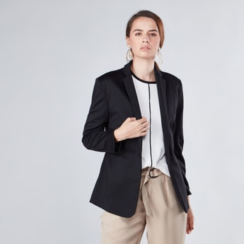Open Front Jacket with Notch Lapel and Long Sleeves