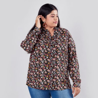 Floral Printed Shirt with Long Sleeves and Spread Collar