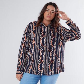 قميص مطبوع بأكمام طويلة ووصلة أزرار كاملة