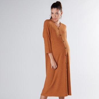 فستان متوسط الطول بياقة V للحوامل