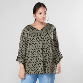 Animal Print Top with V-neck and Long Sleeves