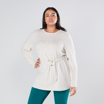 Textured Longline T-shirt with Round Neck and Long Sleeves