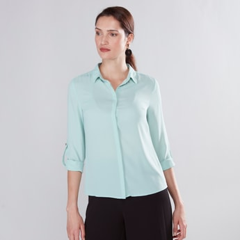 Solid Collared Shirt with Roll-Tab Long Sleeves