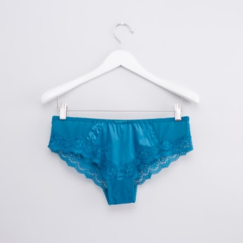Textured Brazilian Briefs with Lace Detail