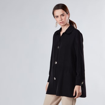 Button Through Oversized Shirt with Long Sleeves