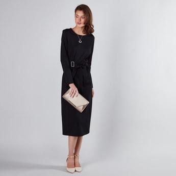 فستان ميدي إيه لاين بأكمام طويلة وأربطة