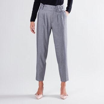 Textured Cropped Trousers with Pockets and Belt Detail