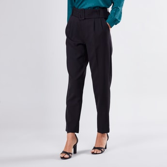 Pleat Detail Trousers with Belt and Pocket Detail