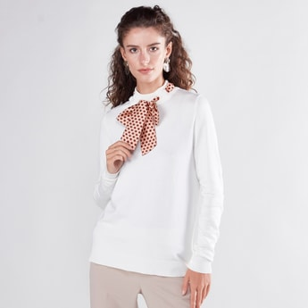Textured Sweater with High Neck and Printed Necktie