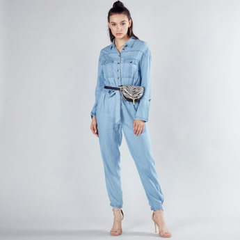 Plain Jumpsuit with Long Sleeves and Elasticised Hem