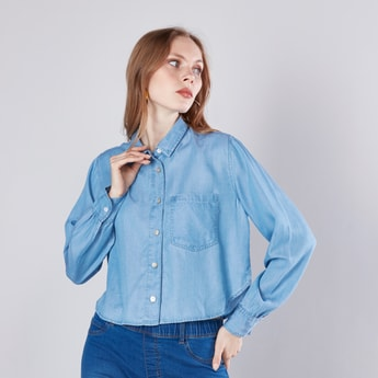 Plain Denim Shirt with Patch Pocket and Spread Collar