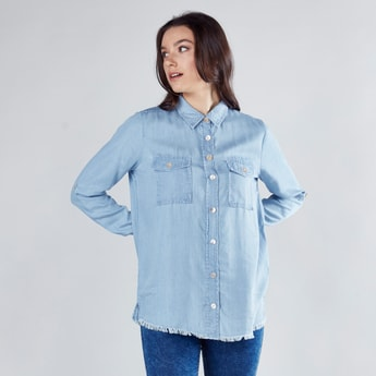 Denim Shirt with Long Sleeves and Pocket Detail