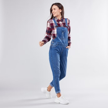 Denim Dungaree with Pocket Detail and Button Closure
