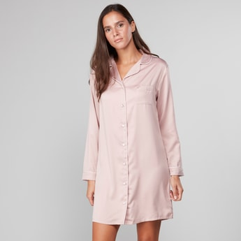 Solid Collared Sleepshirt with Long Sleeves