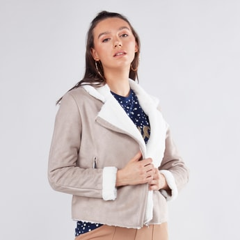 Textured Parka Jacket with Long Sleeves and Zipped Pockets
