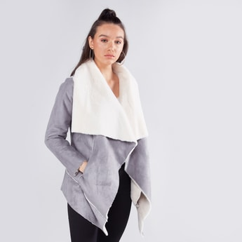 Textured Overcoat with Long Sleeves