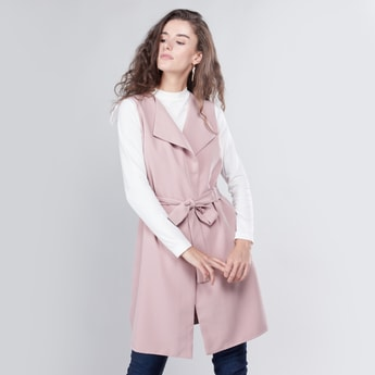 Solid Sleeveless Jacket with Tie-Up Detail
