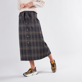 Chequered Midi A-line Skirt with Button Detail and Tie Ups