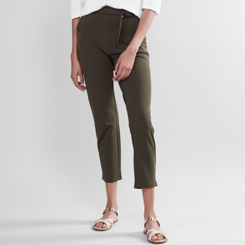 Plain Mid Waist Pants with Elasticised Waistband and Belt