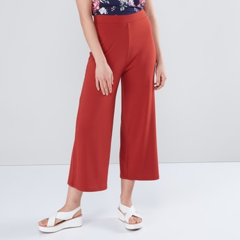 Plain Mid Rise Culottes with Elasticised Waistband