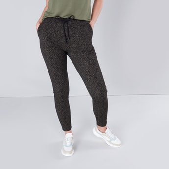 Animal Printed Pants with Drawstring Closure and Pocket Detail