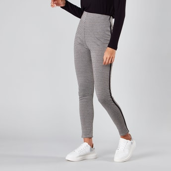 Chequered Full Length Leggings with Tape Detail