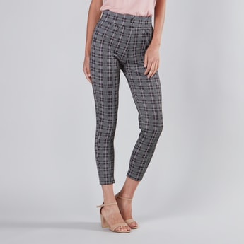 Checked Jacquard Ponte Pants with Elasticated Waistband
