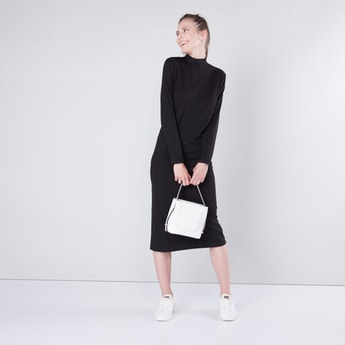 Textured Midi A-line Dress with Crew Neckline