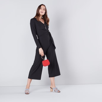 Textured Maxi Wrap Jumpsuit with Long Sleeves