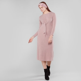 Ribbed Round Neck Midi Dress with Front Knot
