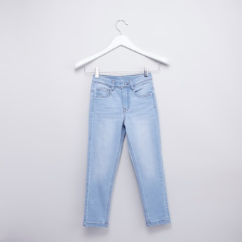Solid Jeans with Pockets Details and Button Closure