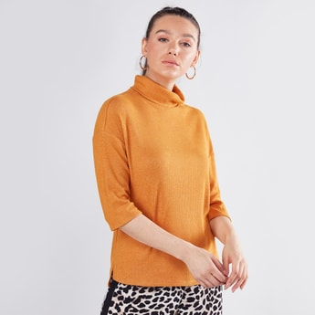 Ribbed High Neck Top with 3/4 Sleeves