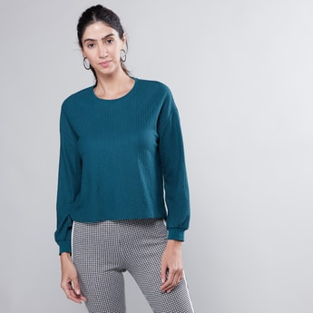 Ribbed Top with Round Neck and Long Sleeves