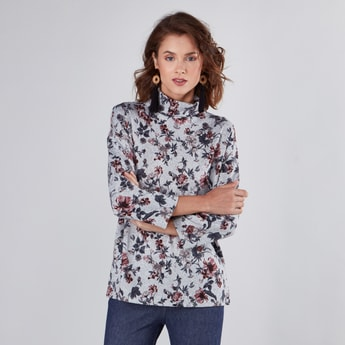 Floral Printed T-shirt with High Neck and 3/4 Sleeves