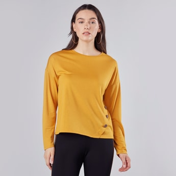 Solid Round Neck T-shirt with Long Sleeves and Button Detail