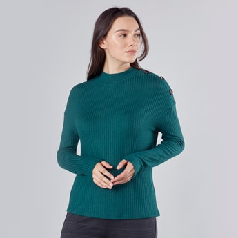 Ribbed Top with High Neck and Long Sleeves