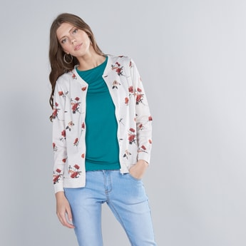 Floral Printed Sweat Shirt with Long Sleeves and Zip Closure