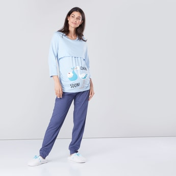 Printed Maternity T-shirt and Pyjama Set