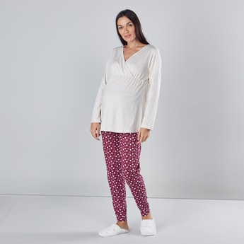 Printed Maternity Pyjamas with Elasticised Waistband